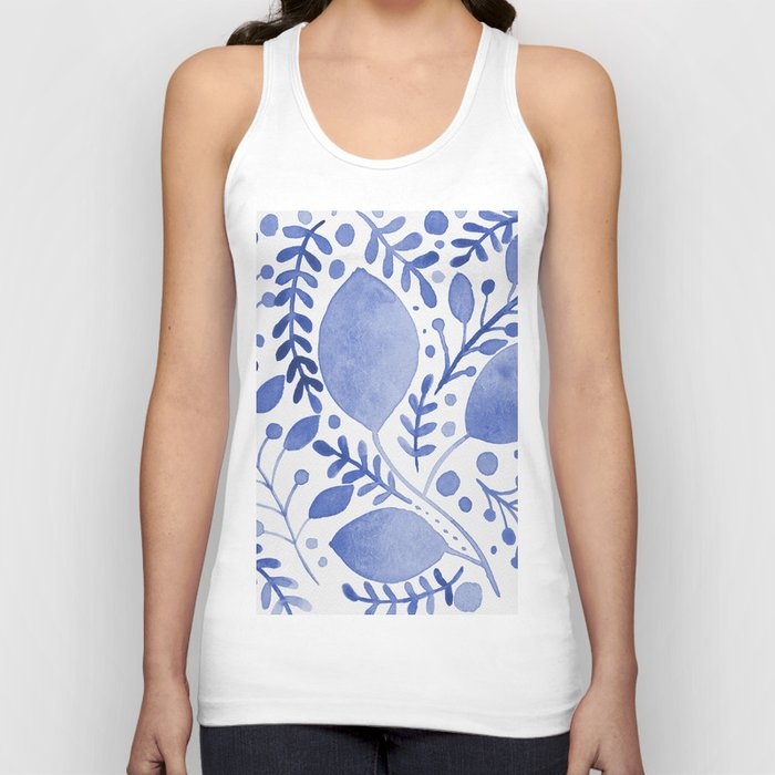 Branches and leaves - blue Unisex Tanktop