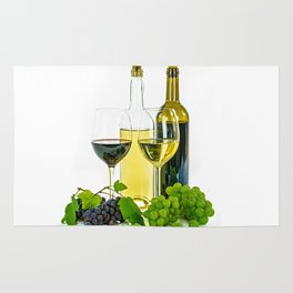 wine and grapes Rug