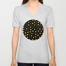 Elegant polka dots - Black Gold Unisex V-Neck