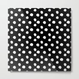 Brushy Dots pattern - Black Metal Print
