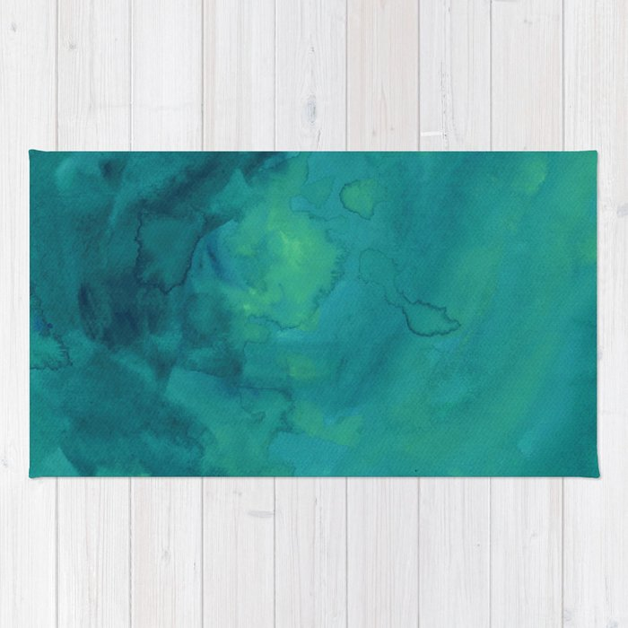 Watercolor Green And Blue Rug By Andredigital
