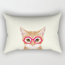 Ginger - Cute cat with glasses hipster cat art for dorm college decor funny cat lady meme Rectangular Pillow