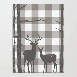 Deer & Birch Grey Plaid Poster