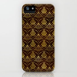Hamsa Hand pattern -gold on brown glass iPhone Case