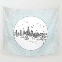 Austin, Texas City Skyline Illustration Drawing Wall Tapestry