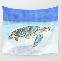 sea turtle Wall Tapestries featuring Sea turtle by Savousepate