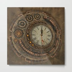 Steampunk, awesome clock Metal Print