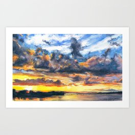 Mississippi River at Quincy Art Print