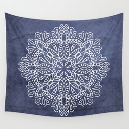 Mandala Vintage White on Ocean Fog Gray Wall Tapestry