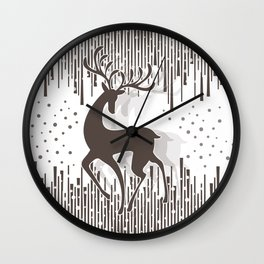 Dancing Deer - Black & White Wall Clock