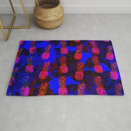 Abstract Pink and Blue Pineapple Rug