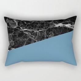 Black marble and niagara color Rectangular Pillow