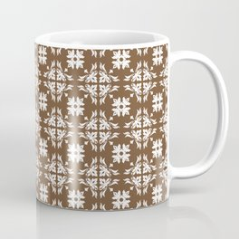 Brown & White Floral Tile Pattern Coffee Mug
