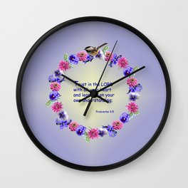 Trust in the Lord Flower Ring Wall Clock