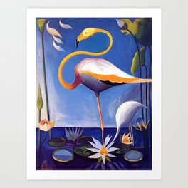 Flamingo and Egret with Lilies and Calla Lilies by Joseph Stella Art Print