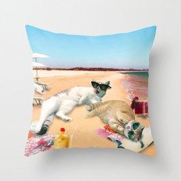 Funny Cat Beach Throw Pillow