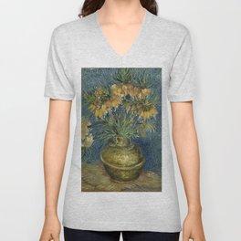 Fritillaries in a Copper Vase by Vincent van Gogh Unisex V-Neck