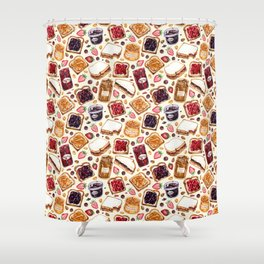 Peanut Butter and Jelly Watercolor Shower Curtain