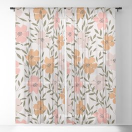 70s Floral Theme Sheer Curtain