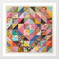 quilt Art Prints featuring Grandma's Quilt by Rachel Caldwell
