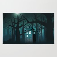witchcraft Area & Throw Rugs featuring Tardis in the Forest of The Night by neutrone