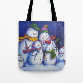 Snow Family Portrait Tote Bag