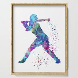 Girl Baseball Player Softball Batter Colorful Watercolor Blue Art Serving Tray