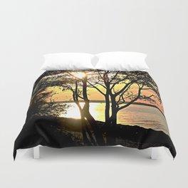 Tree Silhouette At Sunset Duvet Cover