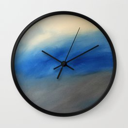 Skyline Ocean Beach Summer Original Painting by Jodi Tomer Blue Gray Wall Clock