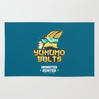 monster hunter Area & Throw Rugs featuring Monster Hunter All Stars - The Yukumo Bolts by Bleached ink