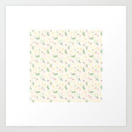 Floral pattern in doodle style with flowers and leaves. Art Print