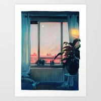 sunset Art Prints featuring sunset by loish