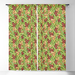 Scattered Coleus Plants Pattern - Green Blackout Curtain