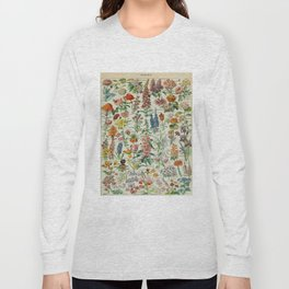 Flowers Vintage Scientific Illustration French Language Encyclopedia Lithographs Educational Long Sleeve T-shirt