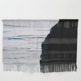 Black and White - Abstract minimal Iceberg aerial view in Greenland - Landscape Photography Wall Hanging