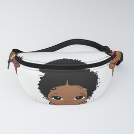 Peekaboo girl bundle, afro puff, princess design Fanny Pack