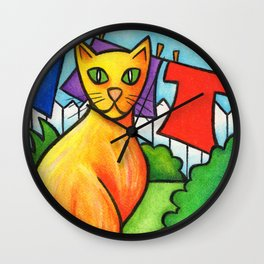 Cat On Fence Wall Clock