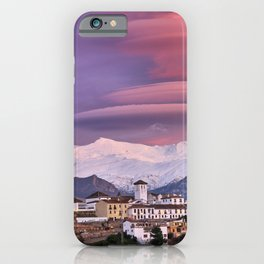 Lenticular clouds at sunset over Granada, The Alhambra, Albaicin village and Sierra Nevada National iPhone Case