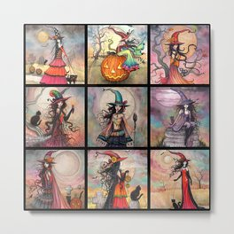 Halloween Witches by Molly Harrison Fantasy Art Metal Print