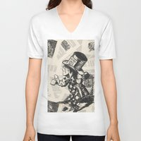 mad hatter V-neck T-shirts featuring Mad Hatter by Jordan Renae Arp