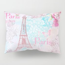 I love Paris - Vintage  Shabby Chic in pink - Eiffeltower France Flowers Floral Pillow Sham