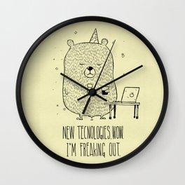 Unemotional Bear vs. Tech Wall Clock