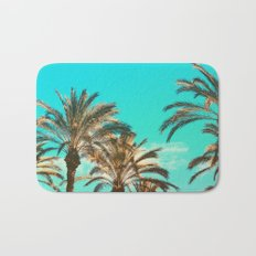 Tropical Palm Trees  - Vintage Turquoise Sky Bath Mat