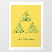 triforce Art Prints featuring Triforce by Constanza Morales