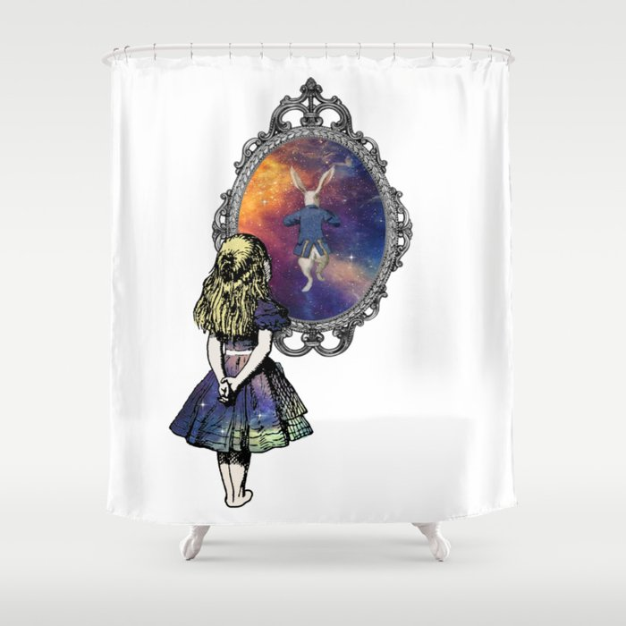 Follow The White Rabbit Alice In Wonderland Shower Curtain By