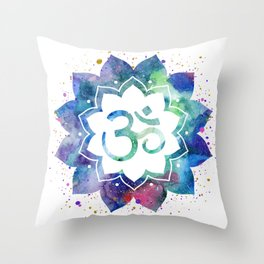 Om Sign Lotus Flower Throw Pillow