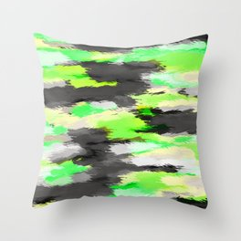 psychedelic camouflage splash painting abstract in green yellow and black Throw Pillow