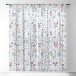 rudis winter floral Sheer Curtain