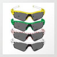tour de france Art Prints featuring Tour de France Glasses by Pedlin
