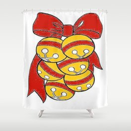 Gold Sleigh Bells With A Red Bow Shower Curtain